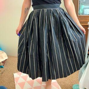 Vintage 1950s Skirt Black and White Striped Skirt